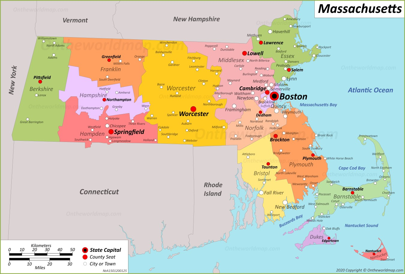 Map of Massachusetts showing Service area for Targeted Web Design including cities of services Andover, North Andover, Burlington, Dracut, Billerica, Tewksbury, Reading, North Reading, Wilmington, Winchester, Lawrence, Lowell, and many more